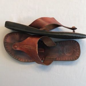 Sz 7 Bohemian Style Leather Thong Sandals
